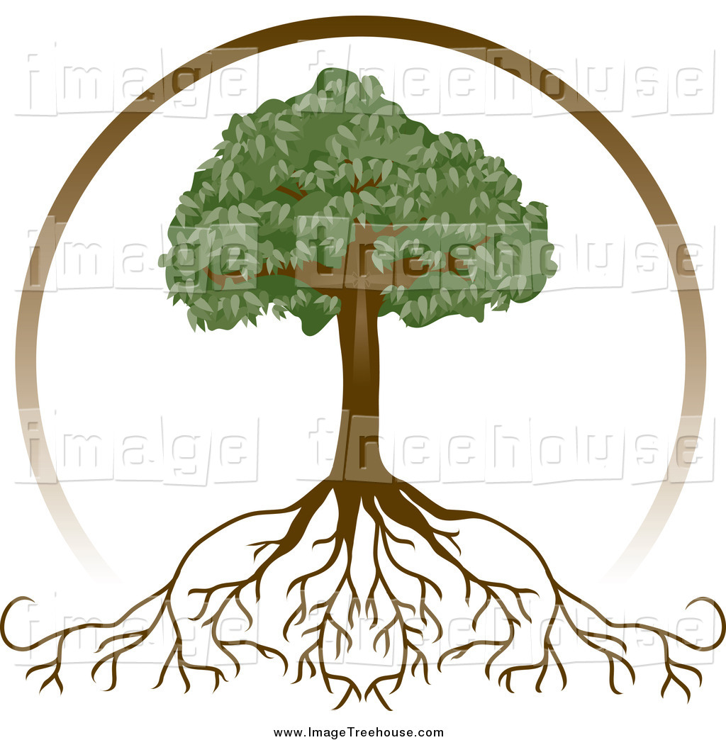 Clipart of a Brown Circle over a Mature Tree with Deep Roots by.