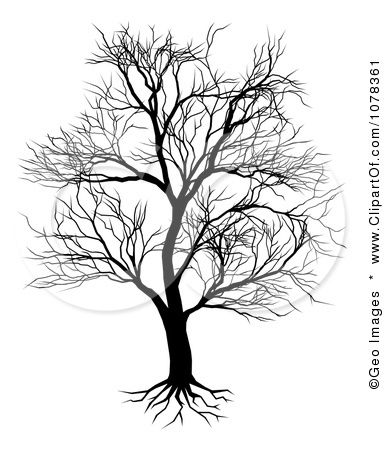 Clipart Silhouetted Mature Bare Tree And Roots.