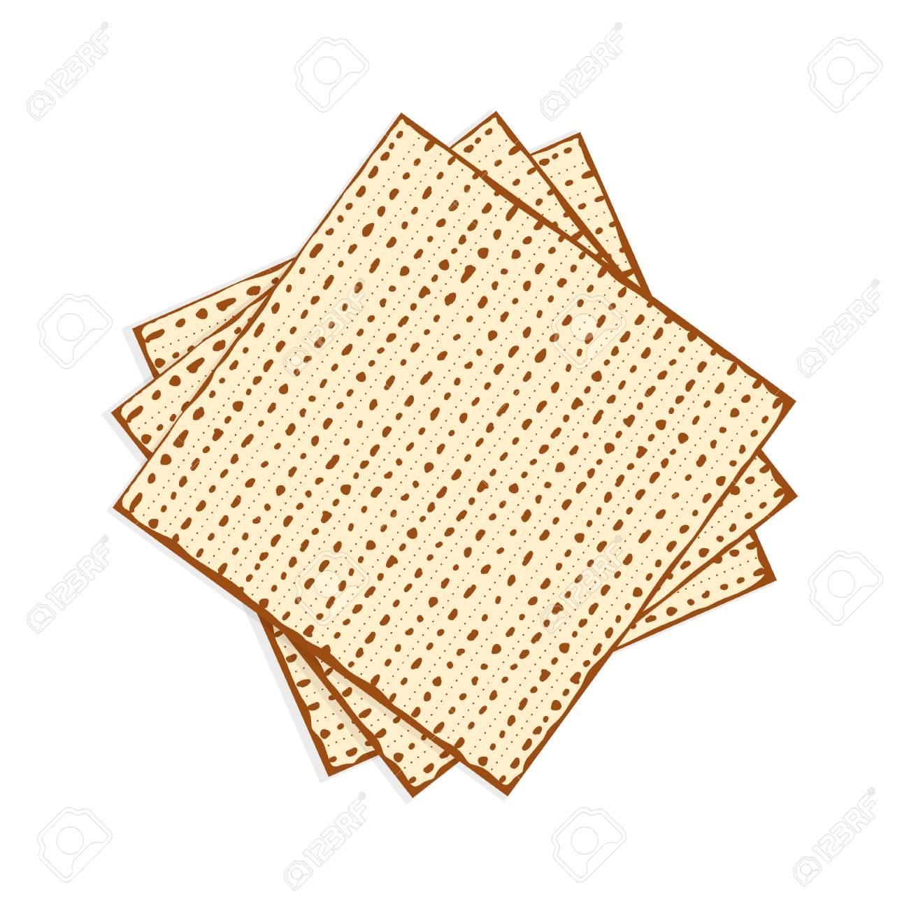 Passover matzah, unleavened bread vector illustration.