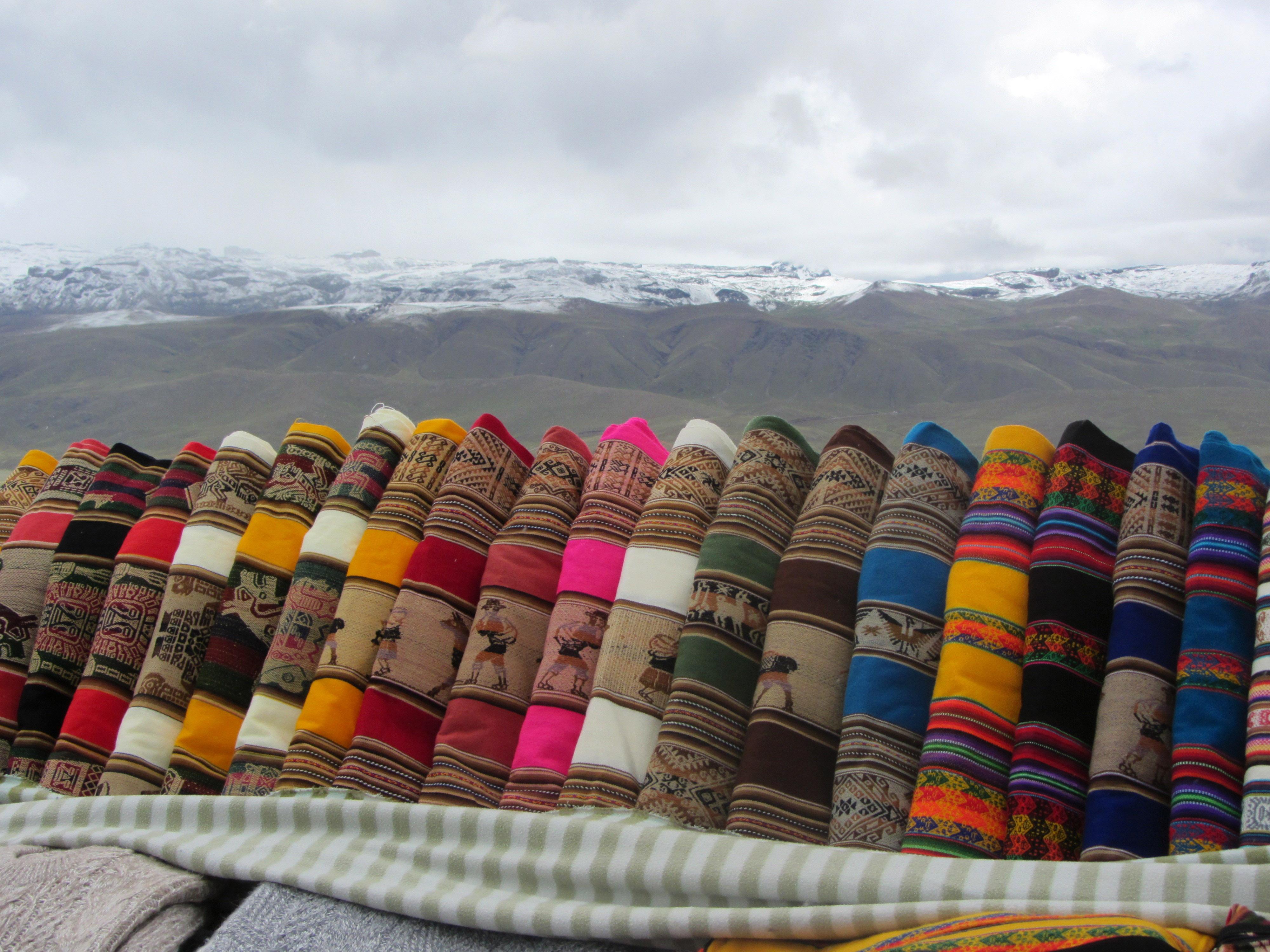Incan Fabric Patterns in Machu Picchu, Peru.