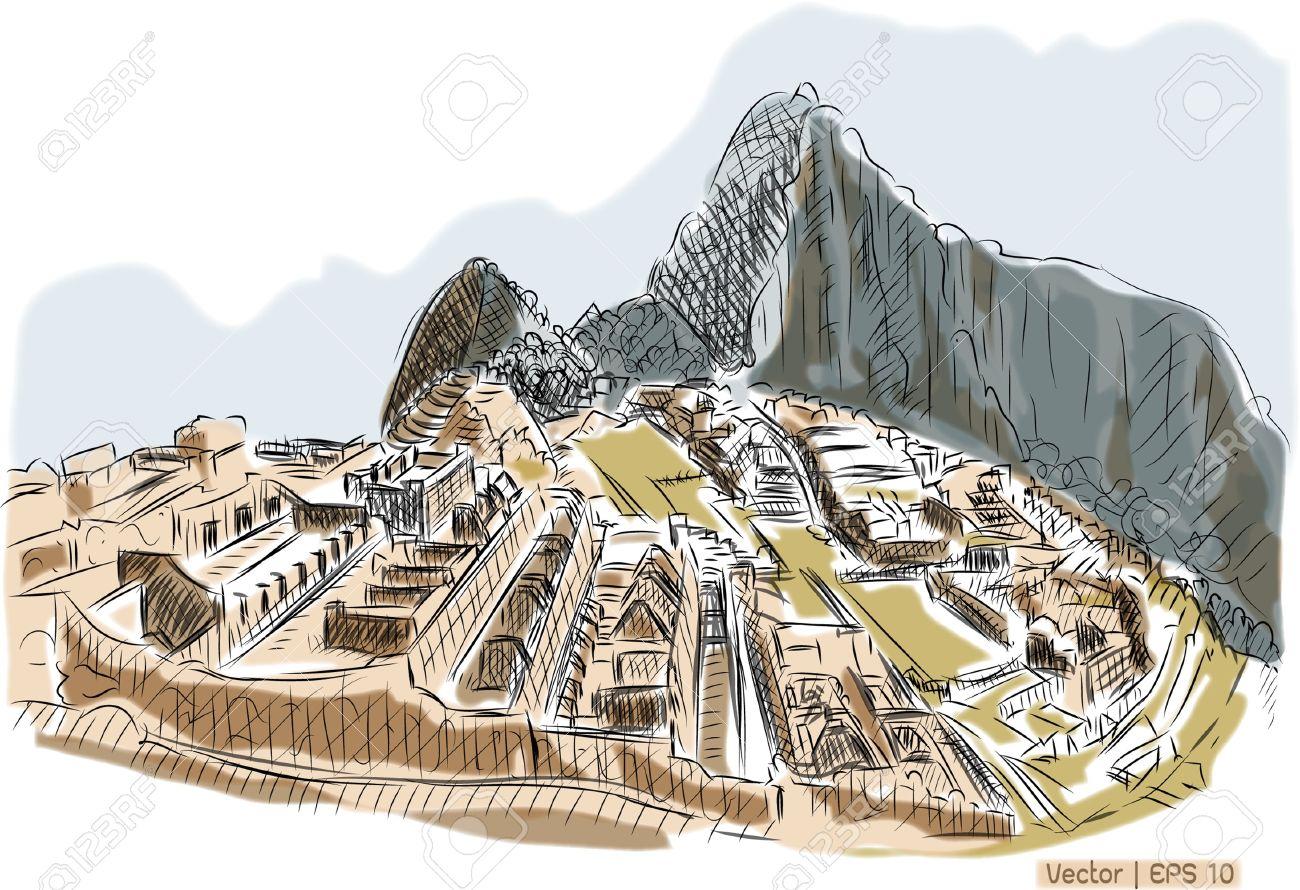 World Famous Landmark Collection Machu Picchu ,Peru Stock Photo.