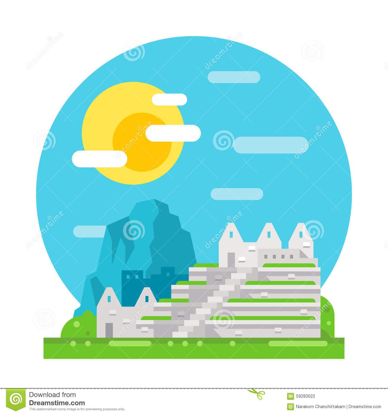 Machu Picchu Peru Stock Illustrations.
