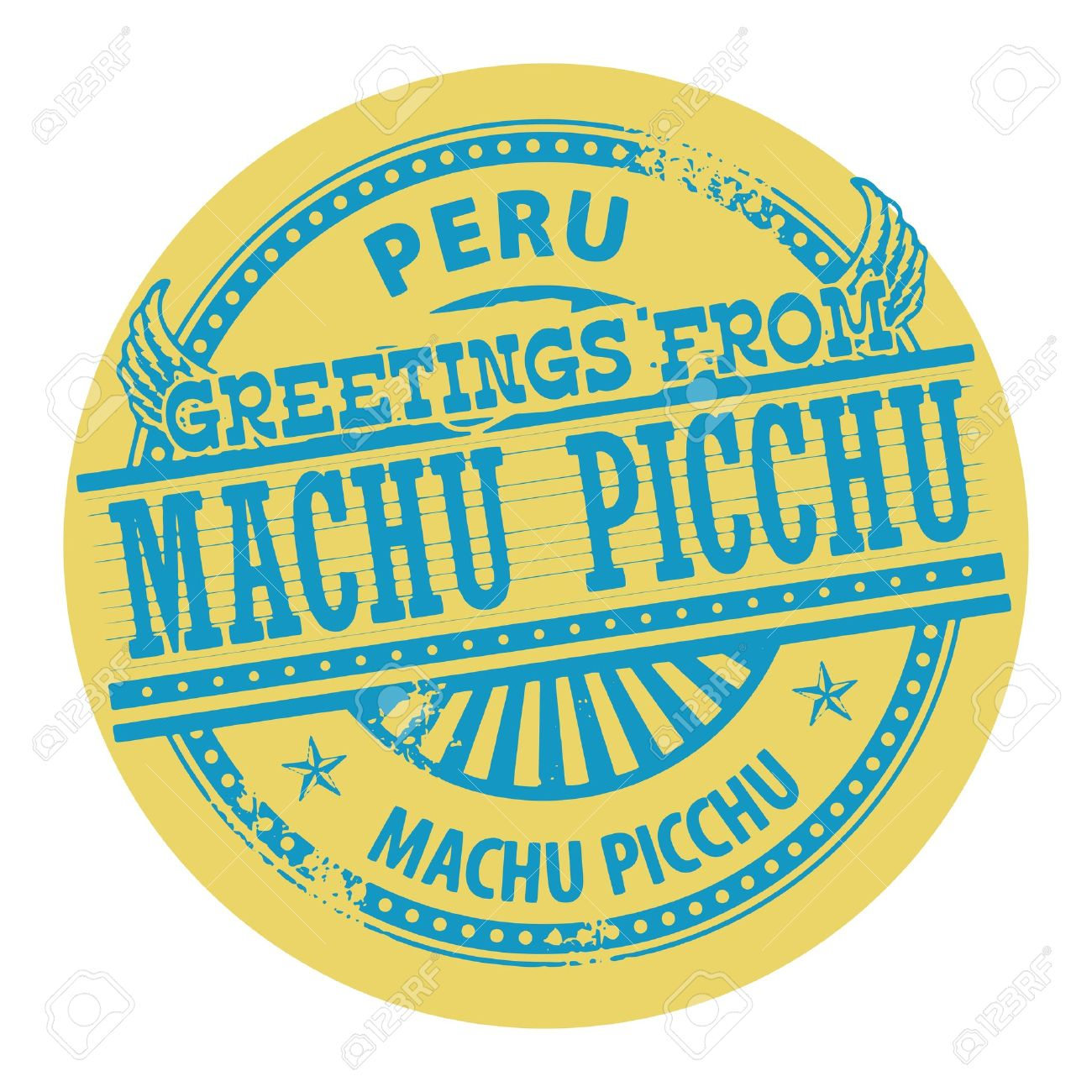 Grunge Color Stamp With Text Greetings From Machu Picchu, Peru.