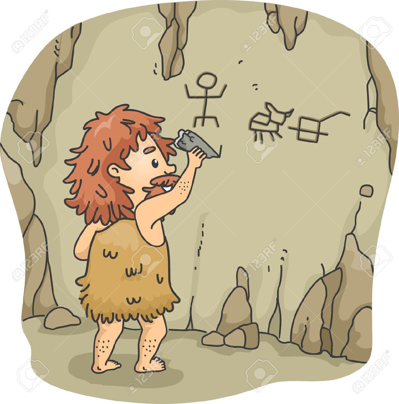 Illustration Eines Caveman Radierung Fakten Auf Den Mauern Einer.