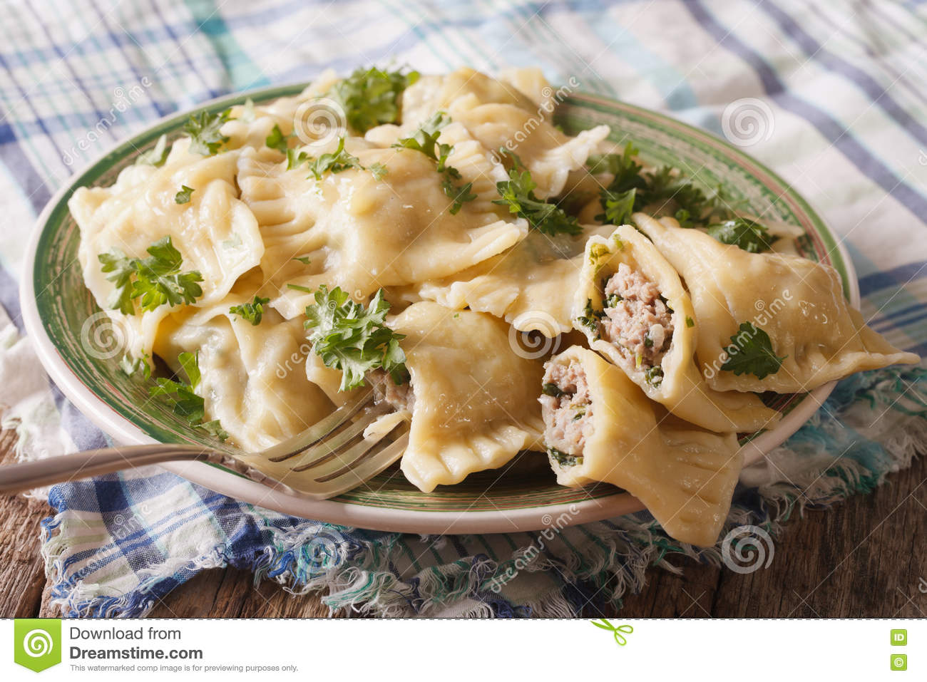 German Ravioli Maultaschen With Spinach And Meat Close Up. Horiz.