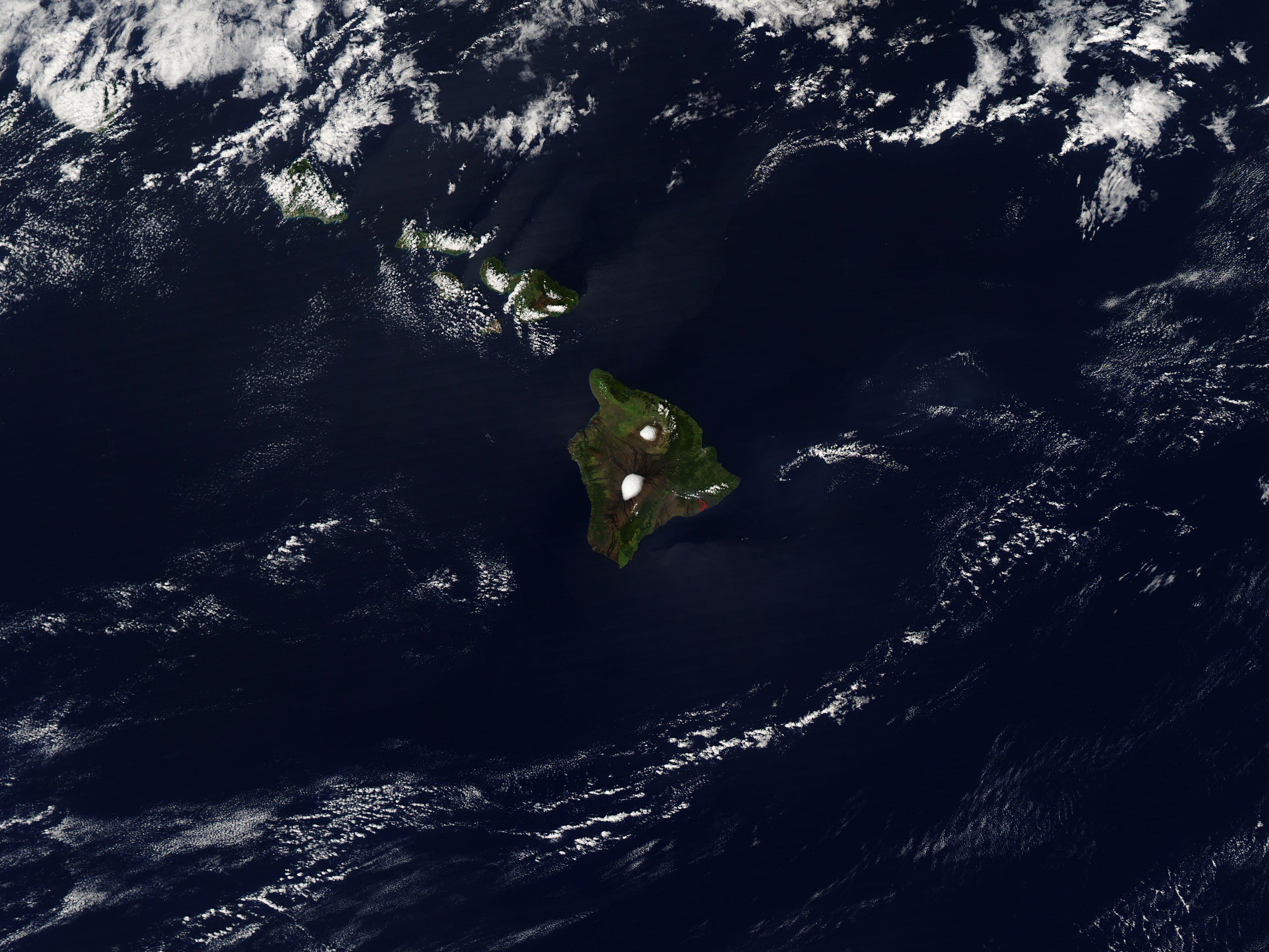 Photo of Aerial View of the Hawaiian Islands From Space.