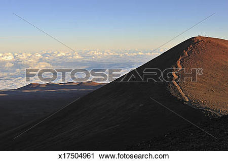 Stock Photography of Trail and Craters at sunset, Mauna Kea.
