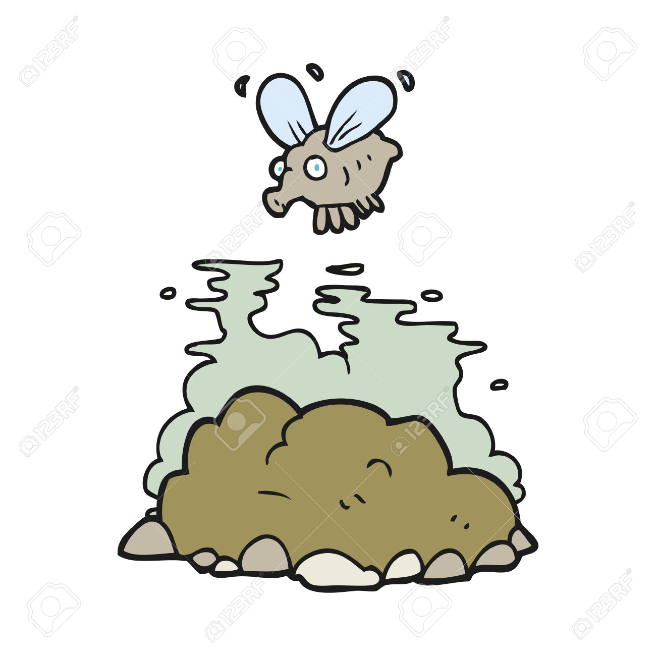 Freehand Drawn Cartoon Fly And Manure Royalty Free Cliparts.