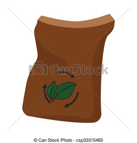 Clip Art Vector of Bag of manure cartoon icon isolated on a white.