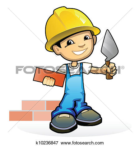 Clip Art of Young mason with trowel k10236847.