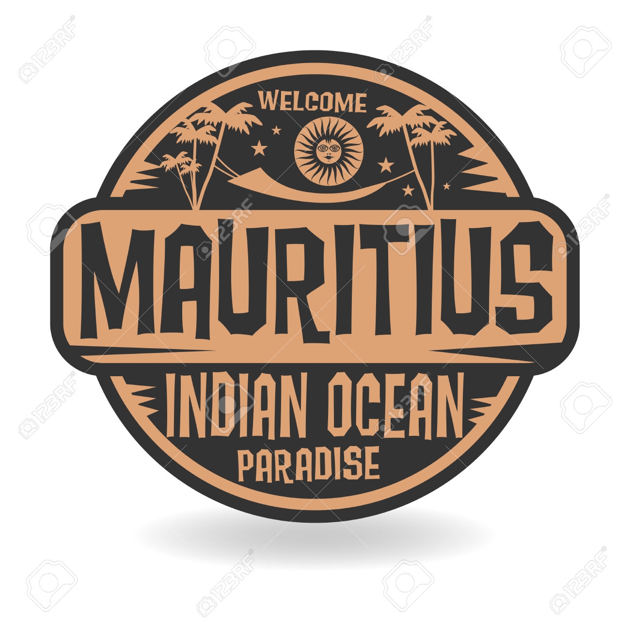 Stamp Or Label With The Name Of Mauritius, Indian Ocean, Vector.