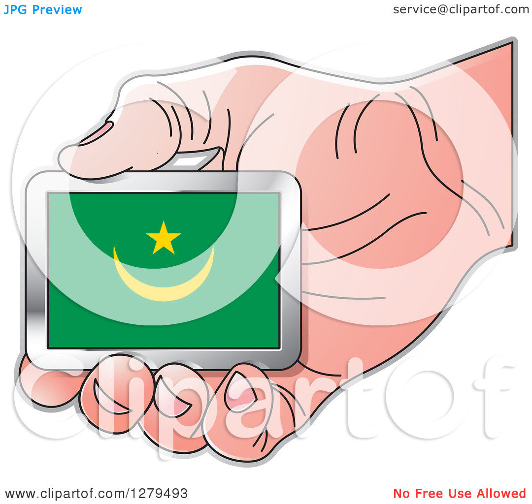 Clipart of a Caucasian Hand Holding a Mauritania Flag.