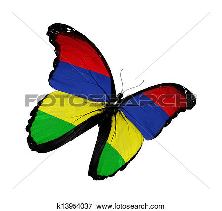 Stock Illustration of Mauritius flag butterfly flying, isolated on.