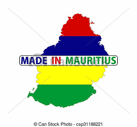 Clip Art of made in mauritius country national flag map shape with.