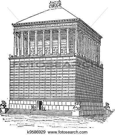 Clip Art of Tomb of Mausolus or Mausoleum at Halicarnassus, in.