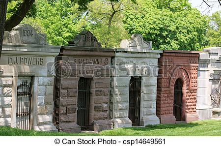 Stock Image of Row of Mausoleums.