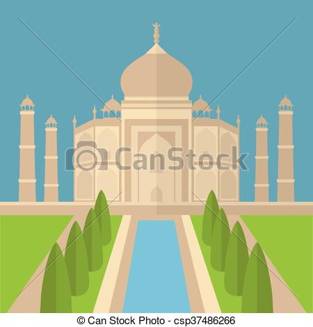Clip Art Vector of Taj Mahal Temple Landmark in Agra, India.