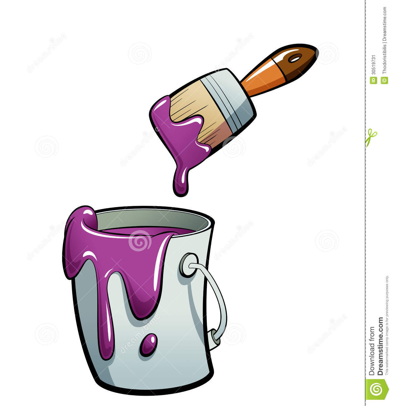 Cartoon Purple Color Paint In A Paint Bucket Painting With Paint.