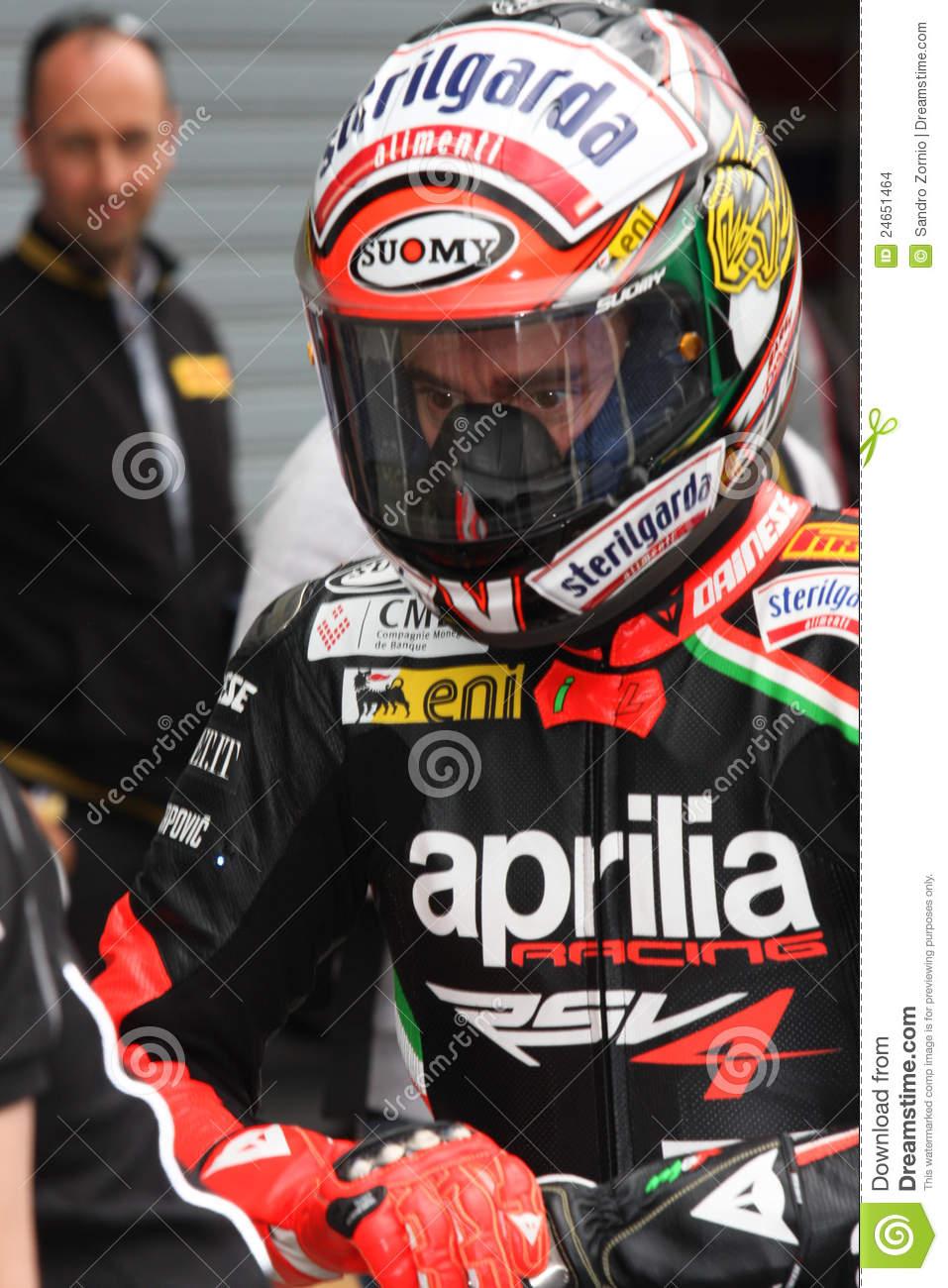 Max Biaggi Aprilia RSV4 Aprilia Racing Team Editorial Stock Image.