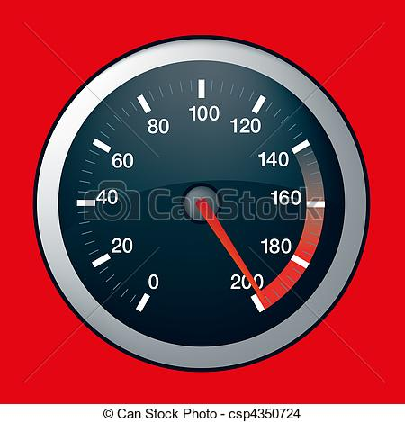 Drawing of car speed dial on maximum.