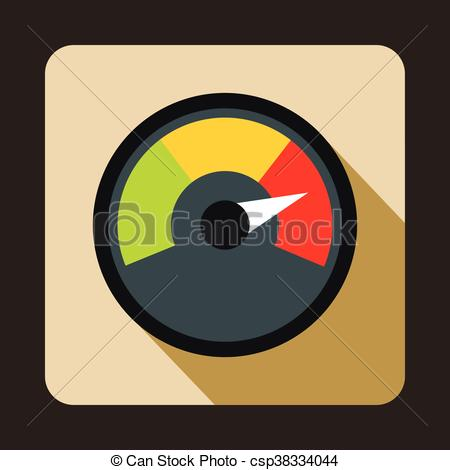 EPS Vector of Speedometer at maximum speed icon, flat style.