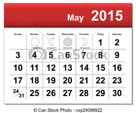 EPS10 file. May 2015 calendar. The.