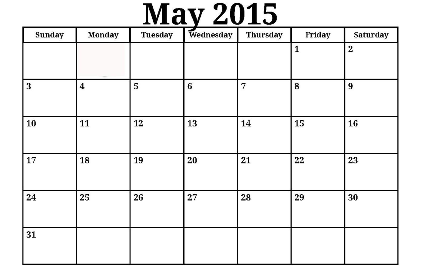 Calendar May 2015.