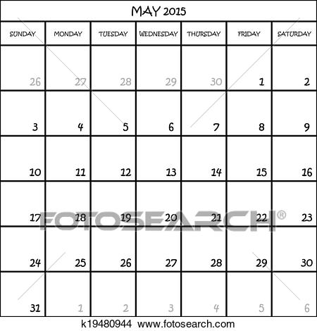 MAY 2015 CALENDAR PLANNER MONTH ON TRANSPARENT BACKGROUND Clipart.