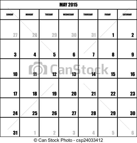 IMPACT CALENDAR PLANNER MONTH MAY 2015 ON TRANSPARENT BACKGROUND.