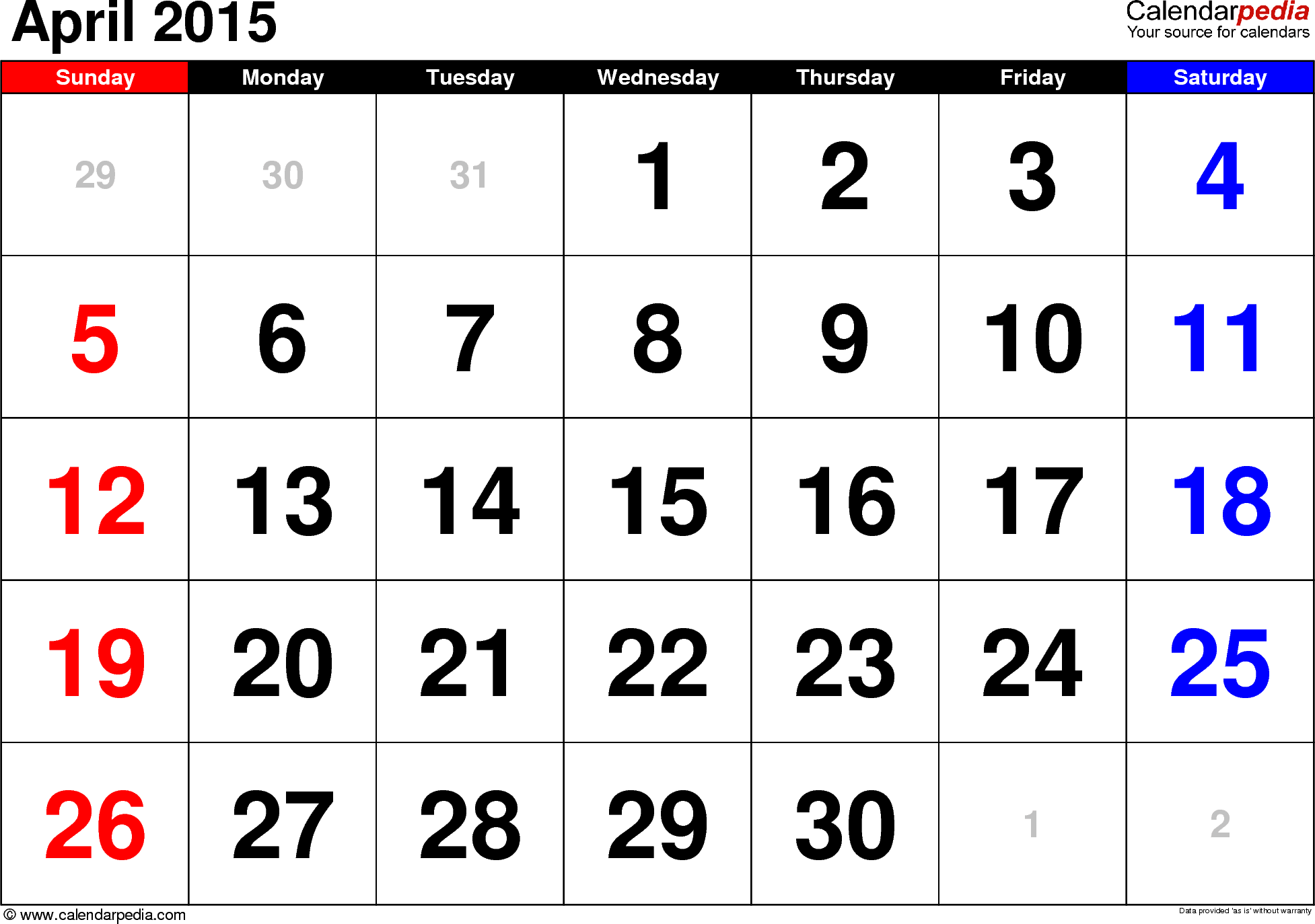 april calendar 2015 template.