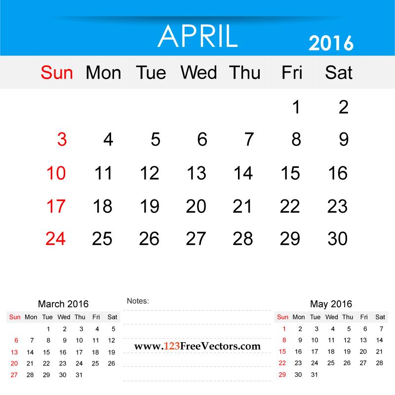 2016 Calendar Clip Art.