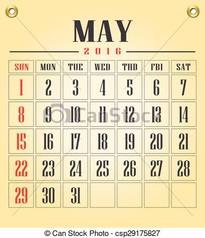 Clip Art Vector of May 2016 calendar..