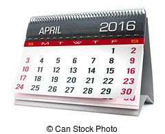 Clipart of May 2016 desktop calendar isolated on white background.