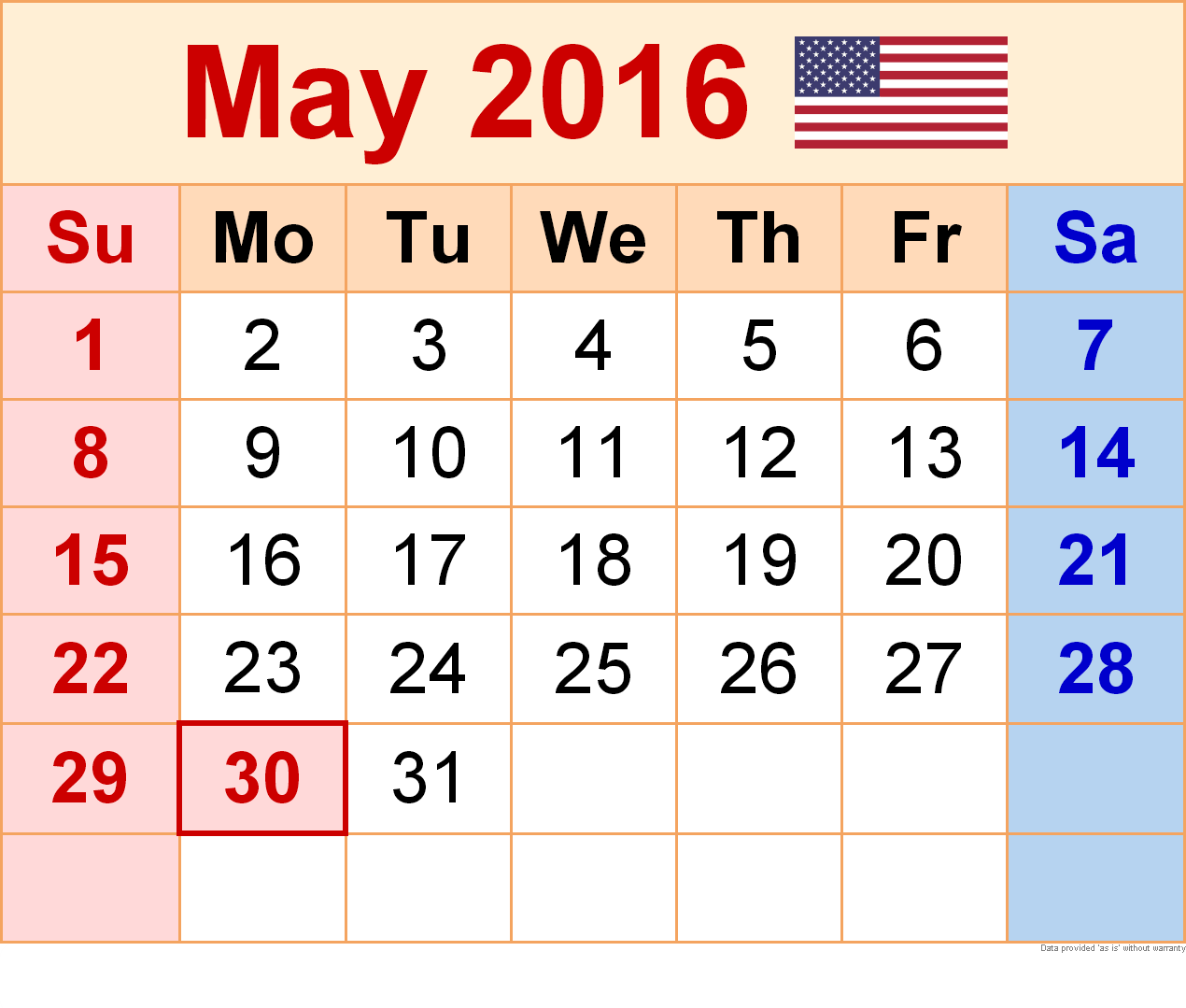 May 2016 Blank Printable Calendar.