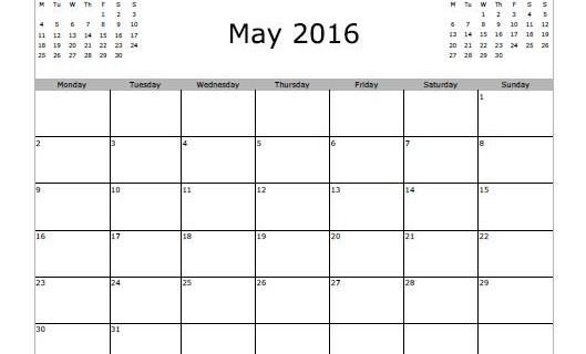 Calendar Clipart Bw May 2016.