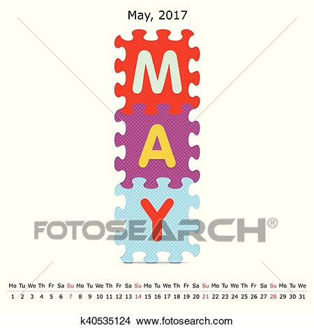 May 2017 puzzle calendar Clipart.