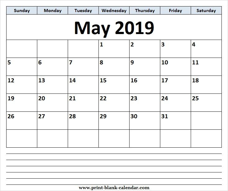 Free May 2019 Calendar Clipart Page.