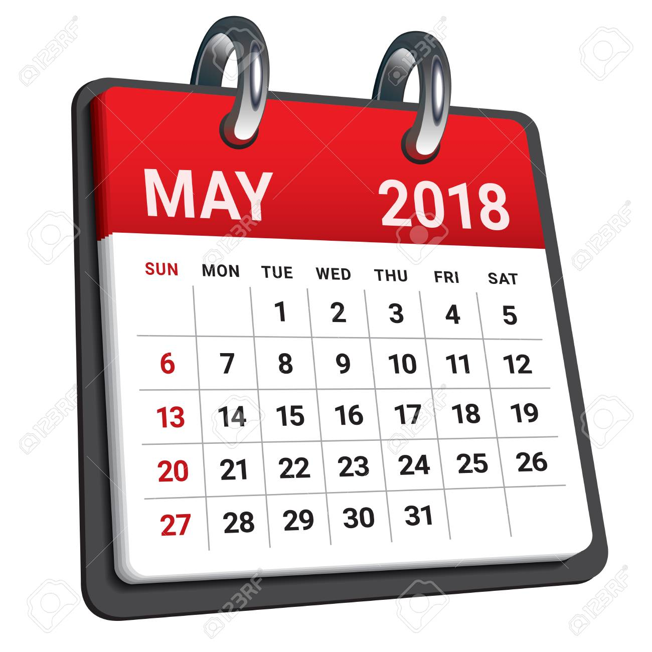 May 2018 calendar vector illustration, simple and clean design..