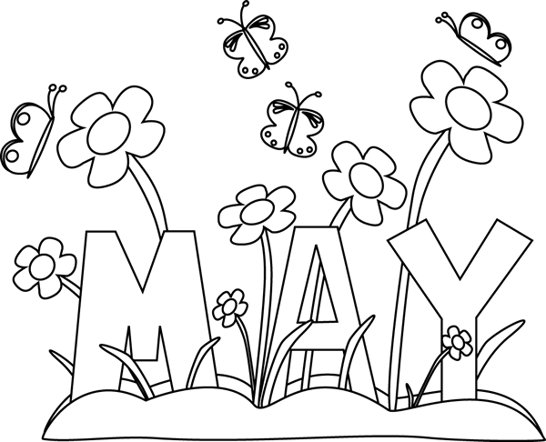 Black and White Month of May Flowers Clip Art.