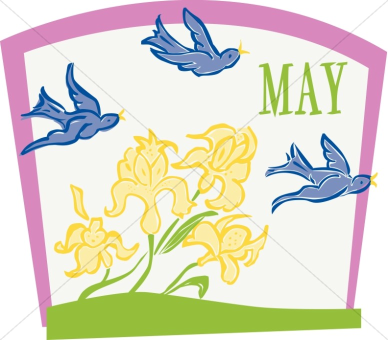 Flying Birds and Flowers in May.