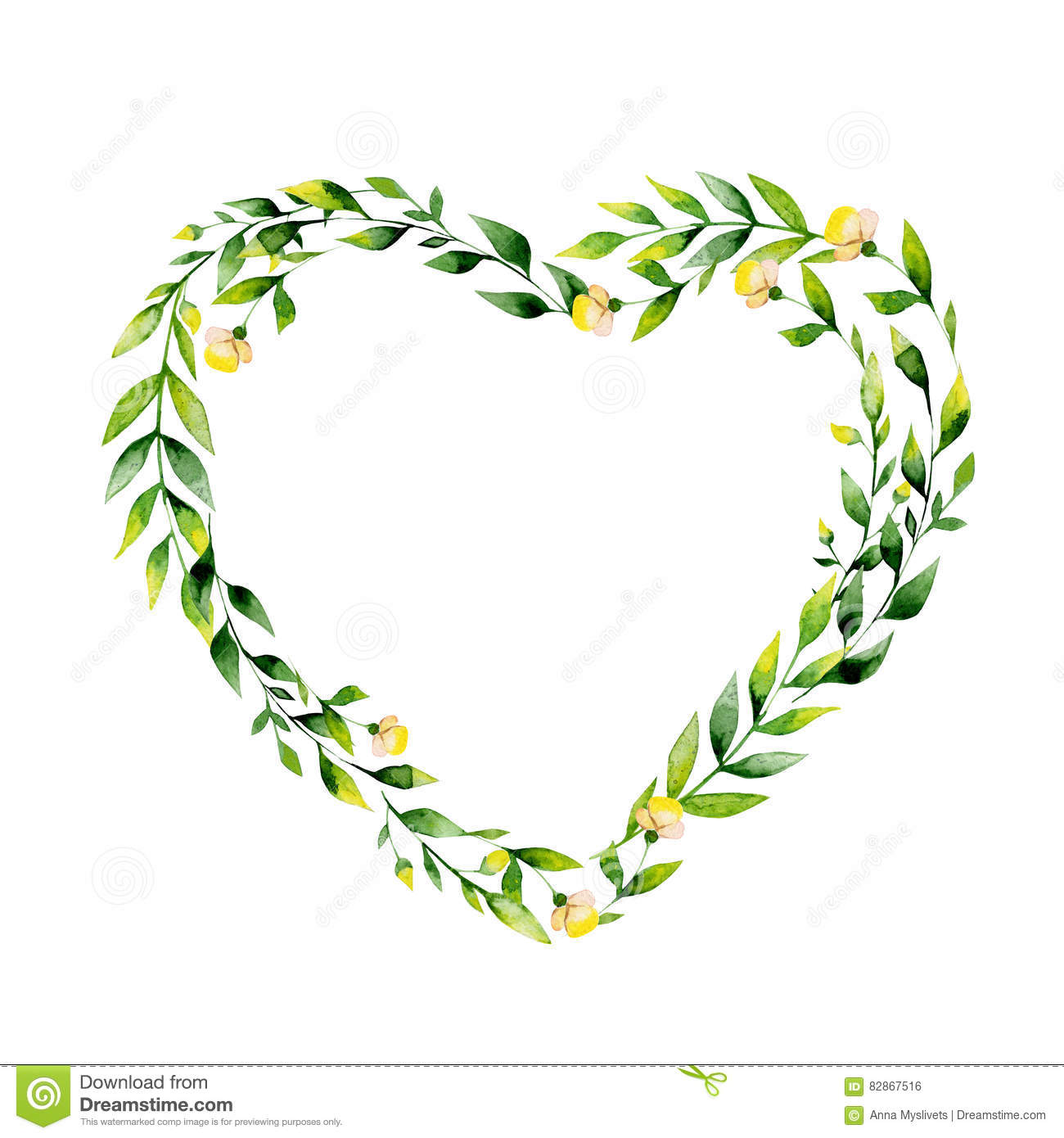 Watercolor Yellow Flower And Herbs Heart . Stock Illustration.