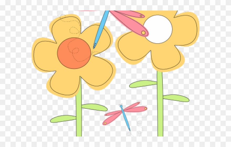 Dragonfly Clipart Flower.