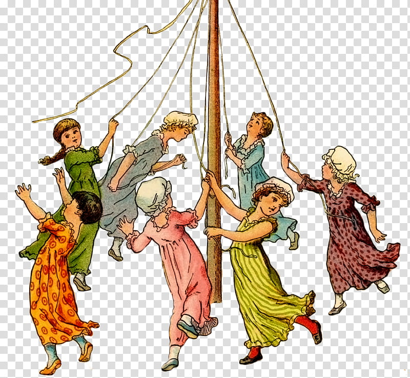 Labor Day Workers Day, Maypole, Dance, May Day, Cartoon.