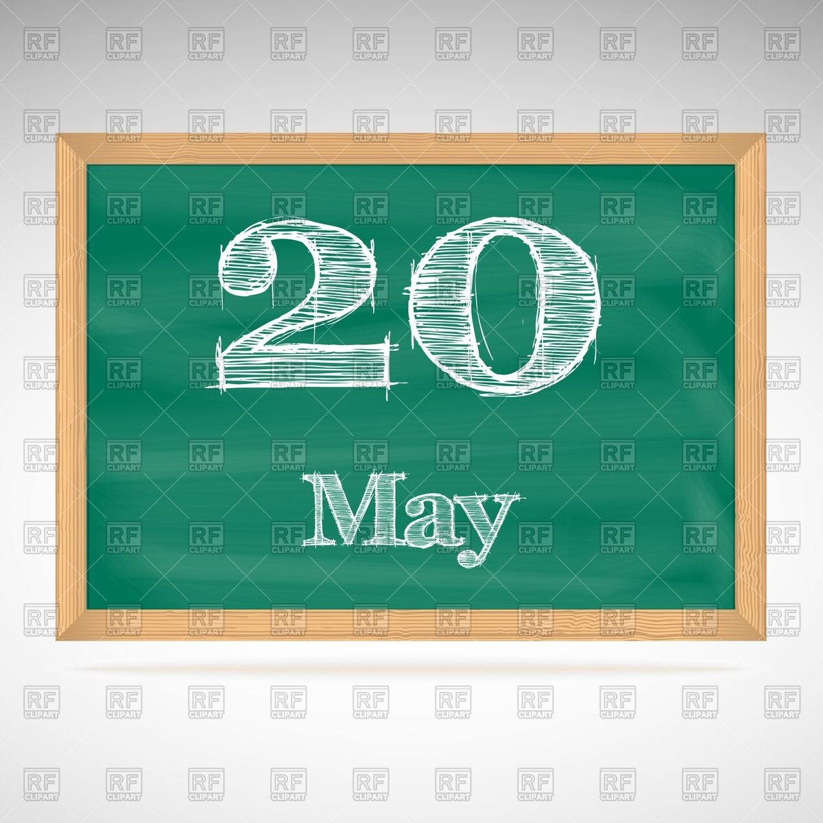School blackboard calendar with inscription in chalk May 20 Vector.