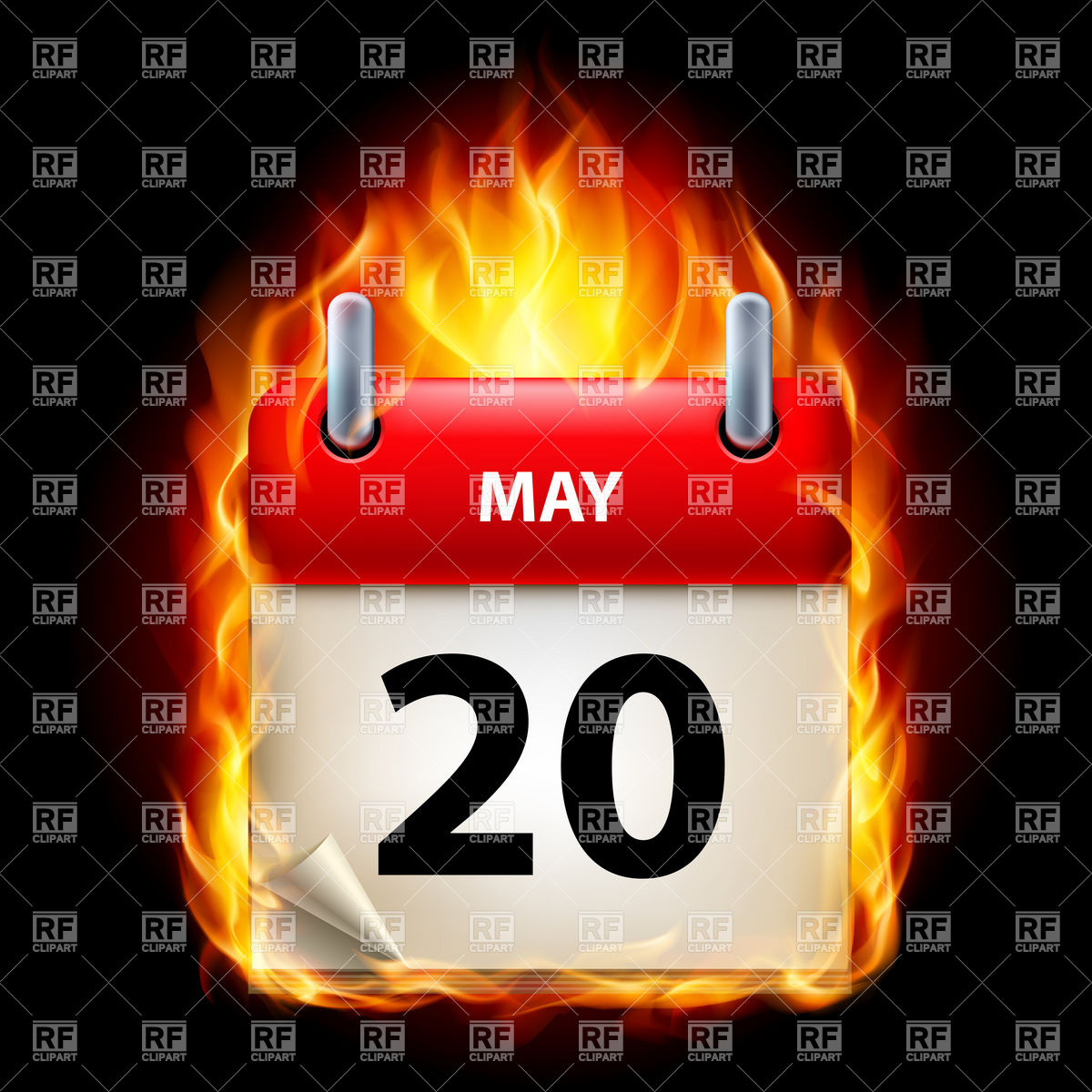 Fiery calendar icon May 20 Vector Image #8936.