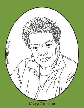 Maya Angelou Clip Art, Coloring Page or Mini Poster.
