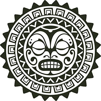 Amazon.com: Simple Black and White Mayan Aztec Cartoon Icon.