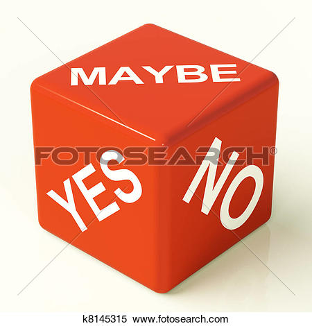 Stock Image of Maybe Yes No Red Dice Representing Uncertainty And.