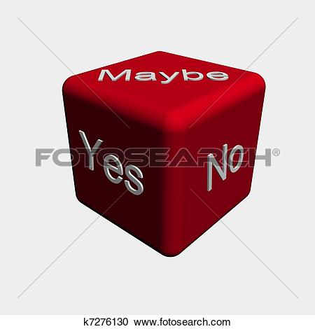 Stock Illustrations of Dice: Yes, No or Maybe k7276130.