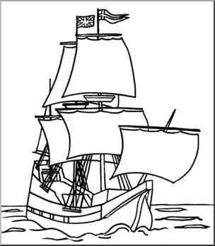 Clip Art: Mayflower B&W I abcteach.com.